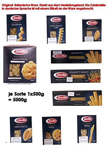 Barilla Specialità Sortiment 10 Sorten x 500g = 5000g Teigwaren aus Hartweizengrieß.