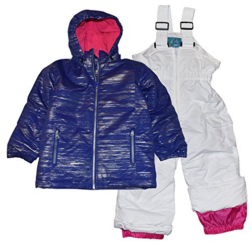 (Pulse Toddler and Little Girls' 2 Piece Snowsuit Set Glitter Coat and Snow Bibs (Large / 7, Purple/White))