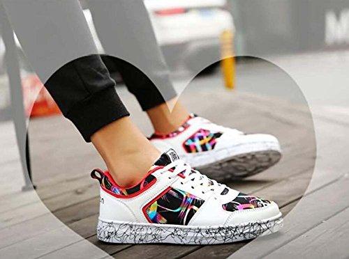 44 Snekers Scarpe Sport Pizzo Unisex Scarpe Piastre Dimensioni White Paio Scarpe Fino Pompa Colormatch Casual Scarpe 35 Eu qFxUw4FaH