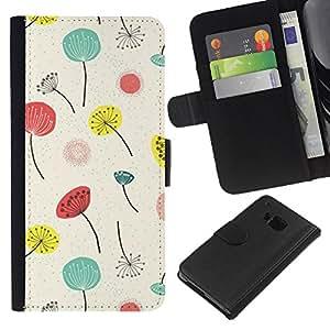 All Phone Most Case / Oferta Especial Cáscara Funda de cuero Monedero Cubierta de proteccion Caso / Wallet Case for HTC One M7 // Poppy Flowers White Minimalist