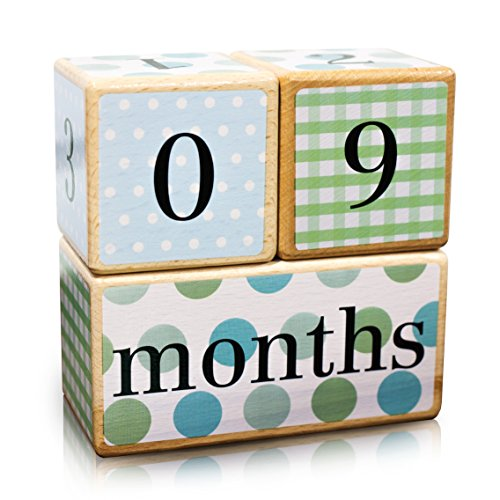 (Premium Solid Wood Milestone Age Blocks | Choose from 3 Different Color Styles (Multi-Color) | Baby Age Photo Blocks | Perfect Baby Shower Gift and Keepsake by LovelySprouts)
