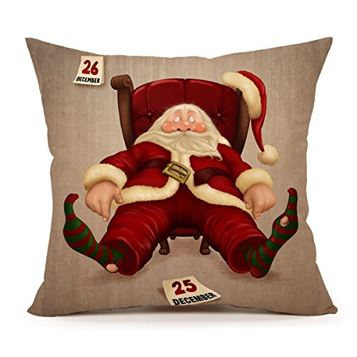 Funny Santa Claus Throw Pillow Cover Cushion Case 18 x 18 Inch Cotton Linen Red Christmas Home Decoration