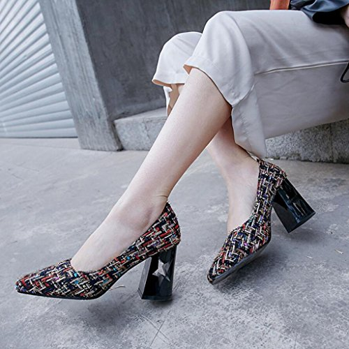 Large Pointed Pumps Court 43 34 Women's Shoes Classic Color Tartan Spring GAOLIXIA Shoes Cloth Heels Heels Size Chunky High Summer pBwnZ