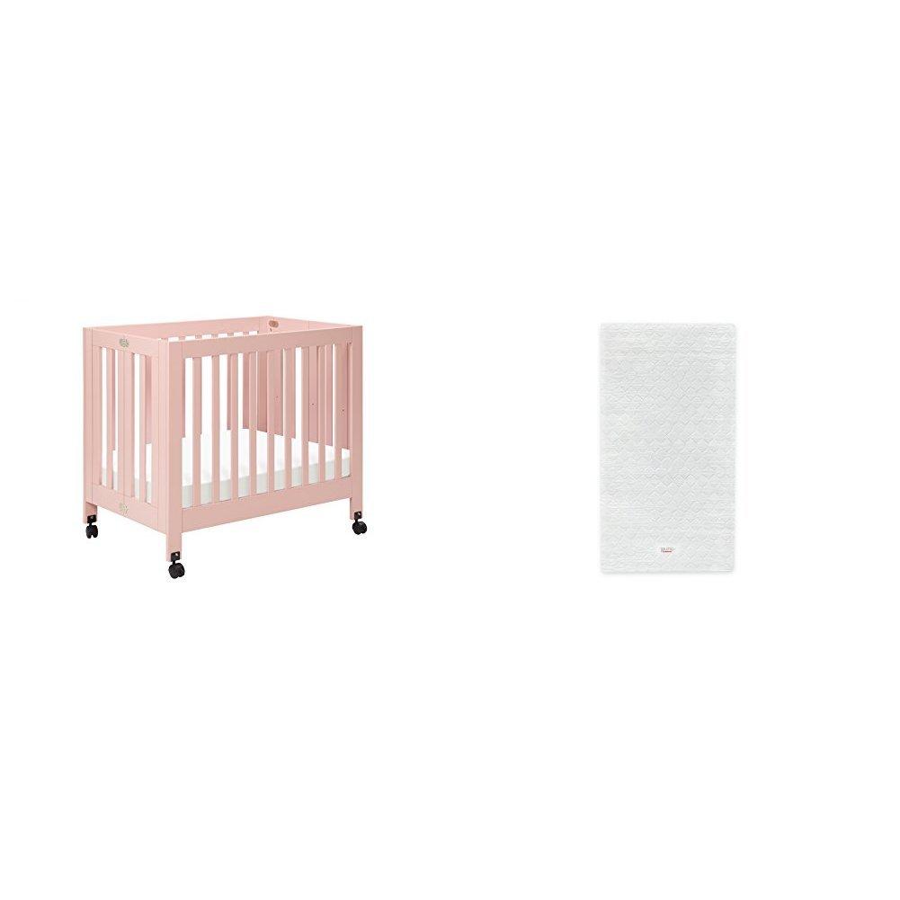 Origami Mini Crib with Pure Core Non-Toxic Mini Crib Mattress with Hybrid Waterproof Cover