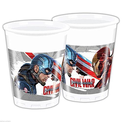 Marvel Comics Avengers Civil War Captain America Kids Party Disposable Plastic Cup 6.7 oz (8 PACK) -