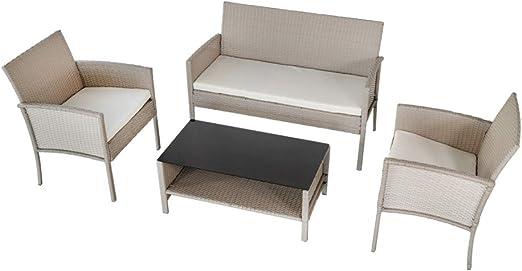 Aktive 61013 Conjunto muebles de jardín en ratán, Multicolor: Amazon.es: Jardín