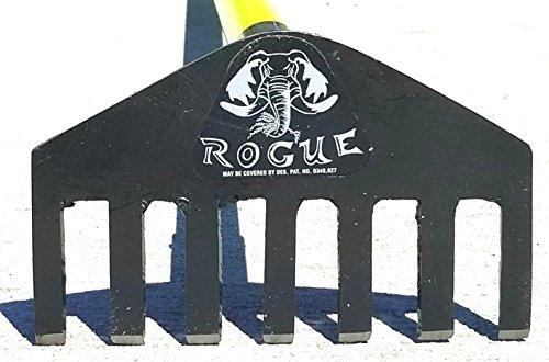 Rogue Best Metal Garden Rake Fiberglass Handle, 8 inch Rake Head Bonus Arcadian Cooling Towel (Colors Vary) by Rogue and Arcadian