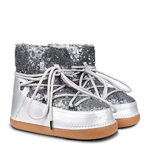 Ikkii Sequin - Botas de Invierno Mujer plata