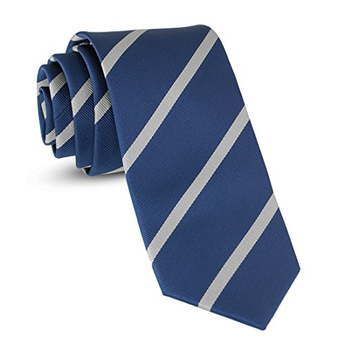 (Handmade Striped Ties For Men Skinny Woven Slim Rep Navy Blue & White Mens Stripes Tie: Thin Necktie, Stylish Neckties For Every Outfit)