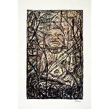 1969 Aquatone Print Alfred Kubin Art Mexican Spanish Temple Nude Religion Statue - Original Aquatone Print