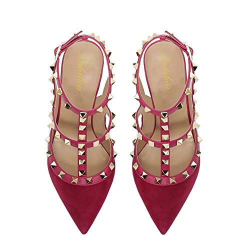 Straps Sandals Lutalica Suede Sexy 5 12 Size Red Pointed Stiletto Studded Ankle Shoes US Heel Toe 5 Women High wqrIrBt
