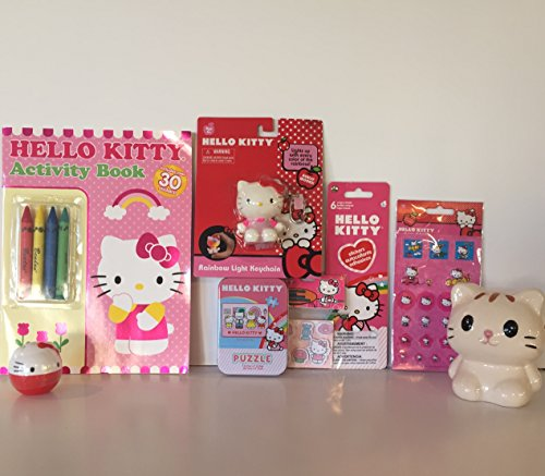 Hello Kitty Bundle  Activity Book With Crayons  Light Up Key Chain  50 Pc Puzzle  3 Sheets Stickers  Ceramic Bank  Plus A Surprise Mystery Ball   8 Items