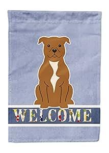 Caroline tesoros del Staffordshire bull terrier marrón Bienvenido bandera lona casa, grandes, Multicolor