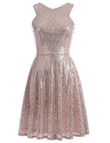 Cocktail Wedding Dress Gown - Kate Kasin Sequined Flared Bridesmaid Gown Homecoming Party Dress Sleeveless Rose Gold US6 KK1065