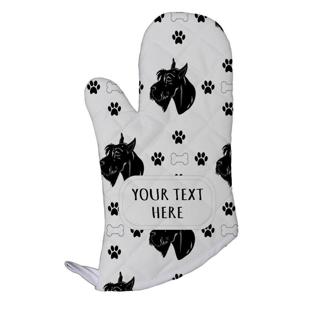 Style In Print Polyester Oven Mitt Custom Giant Schnauzer Dog Bones Paws Pattern Adults Kitchen Mittens