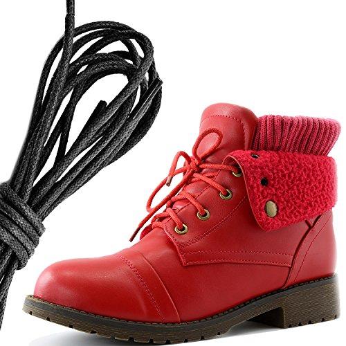 Dailyshoes Womens Boot Style Lace Up Maglione Stivaletto Alla Caviglia Con Taschino Per Porta Carte Di Credito Tasca Porta Soldi, Nero Rosso Pu