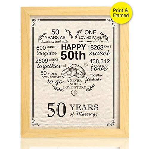 Ihopes Framed 50th Anniversary Heart Burlap Print Decorations, 50 Years Wedding for Men, for Women, for Couple, -