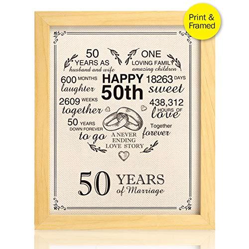 Ihopes Framed 50th Anniversary Heart Burlap Print Decorations, 50 Years Wedding for Men, for Women, for Couple, 8x10inch - Heart Framed Print