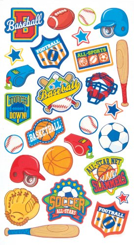 EK Success Brands Decorative Sticko Stickers, Sports Badges (Success Ek Fabric)