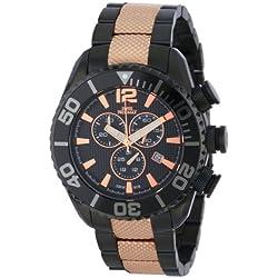 Swiss Precimax Men's SP12172 Deep Blue Pro II Black Dial Two-Tone Stainless Steel Band Watch