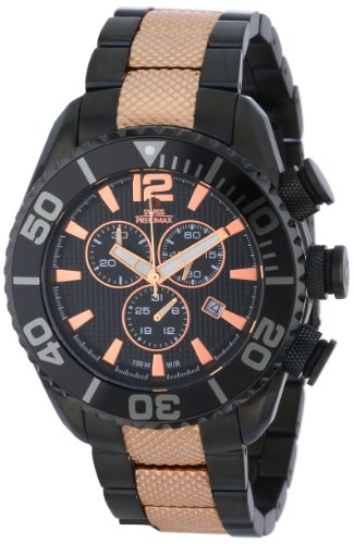 Swiss Precimax Men's SP12172 Deep Blue Pro II Black Dial Two-Tone Stainless Steel Band Watch