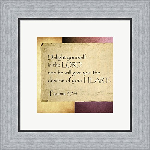 Delight Yourself in the Lord Framed Art Print Wall Picture, Flat Silver Frame, 15 x 15 inches