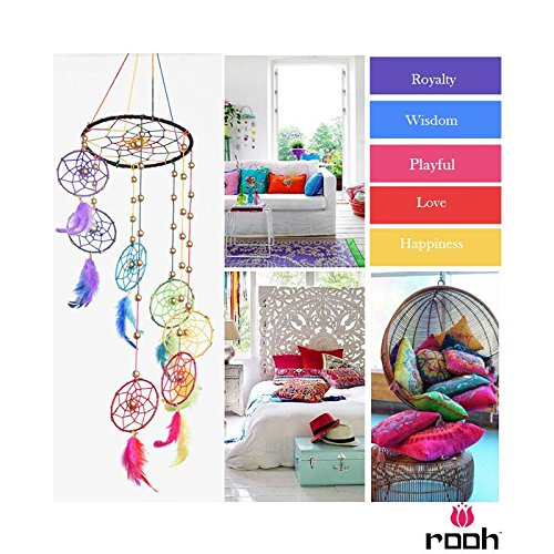 Rooh Dream Catcher ~ with Feathers /& Beads Wall Hanging Rainbow Spiral