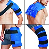 "Ice Gel Pack Shoulder Wrap with Elastic Strap Reusable for Hot or Cold Therapy, Great for Back, Hip, Thigh, Knee, Shin, Large Size, 14"" x 11"""