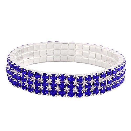 Falari Rhinestone Crystal Stretch Bracelet Sparkle Wedding Bridal 3 Rows Sapphire ()