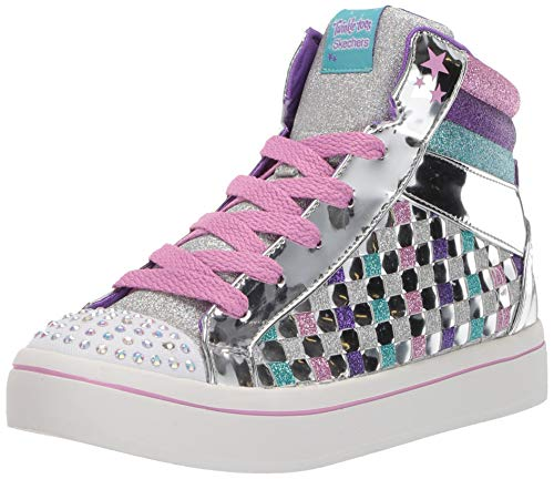 Skechers Kids Girls' TWI-Lites-Sparkle Status Sneaker, Silver/Multi, 4 Medium US Big Kid