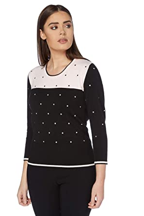 64b97520ca Roman Originals Womens Polka Dot Embroidered Jumper - Ladies Clothing Soft  Day Sweater Jumpers - Female Sweater - Multi - Size 20  Amazon.co.uk   Clothing