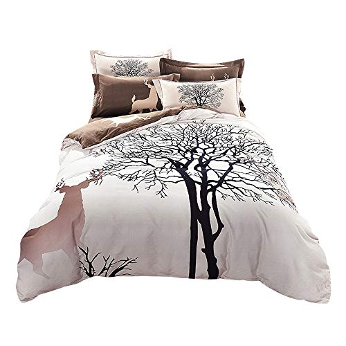 (Svetanya - Tree Deer Printed Pattern - Quilt Cover Bedding Sets (Quilt Cover+ Bedsheet+ Pillowcases) 4pcs - 800TC 100% Sanded Cotton Fabric King Size)