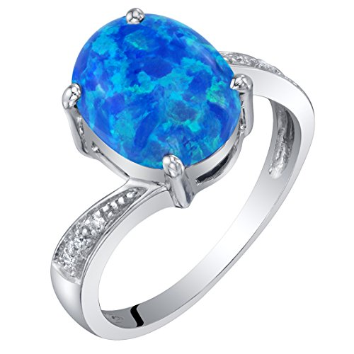14K White Gold Created Blue Opal and Diamond Solitaire Ring 1.25 Carats Oval Shape Size (Si1 Round Fine Diamond Solitaire)