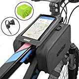 VANGOGO Bike Front Frame Bag, Top Tube Storage Bag, Handlebar Rack Bag with Phone Holder & Waterproof Phone Bag Fits Screen Below 6.2'