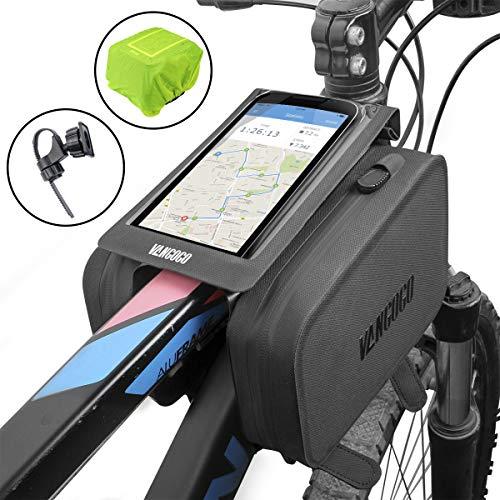 Saddle Tube - VANGOGO Bike Front Frame Bag, Top Tube Storage Bag, Handlebar Rack Bag with Phone Holder & Waterproof Phone Bag Fits Screen Below 6.2