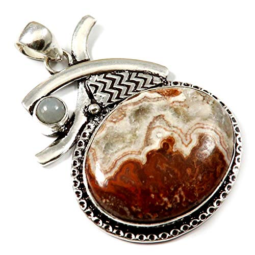 GoyalCrafts Pendant Natural Crazy Lace Agate Blue Aventurine Silver Plated Jewelry GPI129 ()