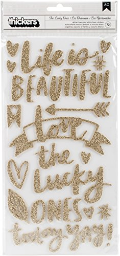 American Crafts Amy Tan Hustle & Heart 72 Piece Phrase Thicker Gold Glitter