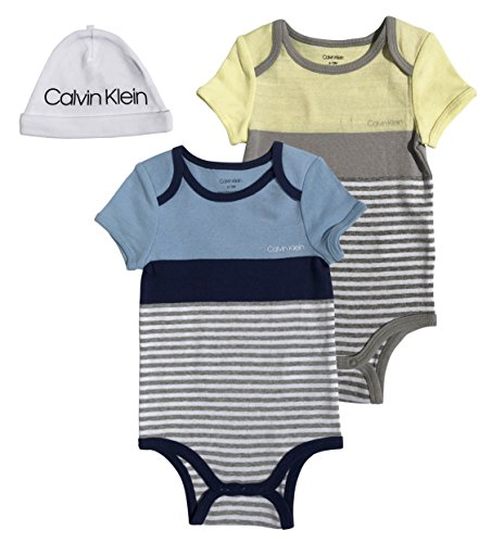 (Calvin Klein Baby Boys Short Sleeve 2 Pack Bodysuit with Hat, Blue Color Block/Yellow Color Block, 12-18 Months)