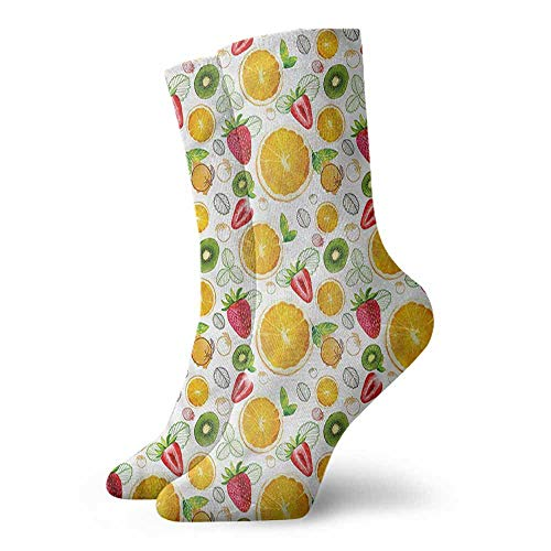 Men's Socks Happy Funny Fruits,Fresh Citrus Kiwi Lemon 3.4