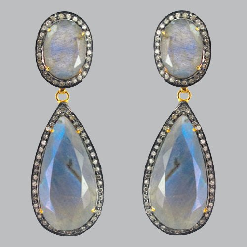 Labradorite Gemstone Dangle Drop Earrings 14k Yellow Gold Pave Diamond 925 Sterling Silver Antique Style Jewelry ()