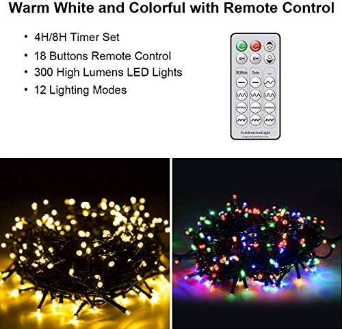 LED String Lights, 108FT 330LED Indoor Outdoor String Light Christmas Tree Decorations Fairy Lights Remote and Timer 12 Modes Light for Xmas Wedding Holiday Party Patio Garden Backyard Home Decor
