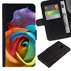 [Neutron-Star] Modelo colorido cuero de la carpeta del tirón del caso cubierta piel Holster Funda protecció Para Samsung Galaxy S5 Mini (Not S5), SM-G800 [Color Rose Beautiful Flower]