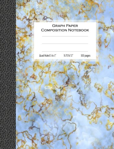 Graph Paper Composition Notebook, Quad Ruled 5 squares per inch, 100 pages: 9.75 in. x 7.5 in. (9 3/4