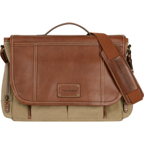Tommy Bahama Luggage Casual Messenger Bag, Khaki/Cognac, One Size by Tommy Bahama