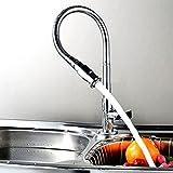 fairtree 360° Rotate llave Bendable solo agujero superficie de cromo llave latón Bibcock para barra de cocina baño de agua etc. Plata