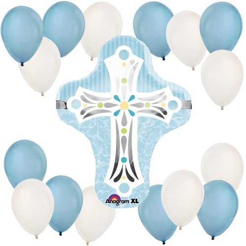 Blue Cross Baptism Party Balloon