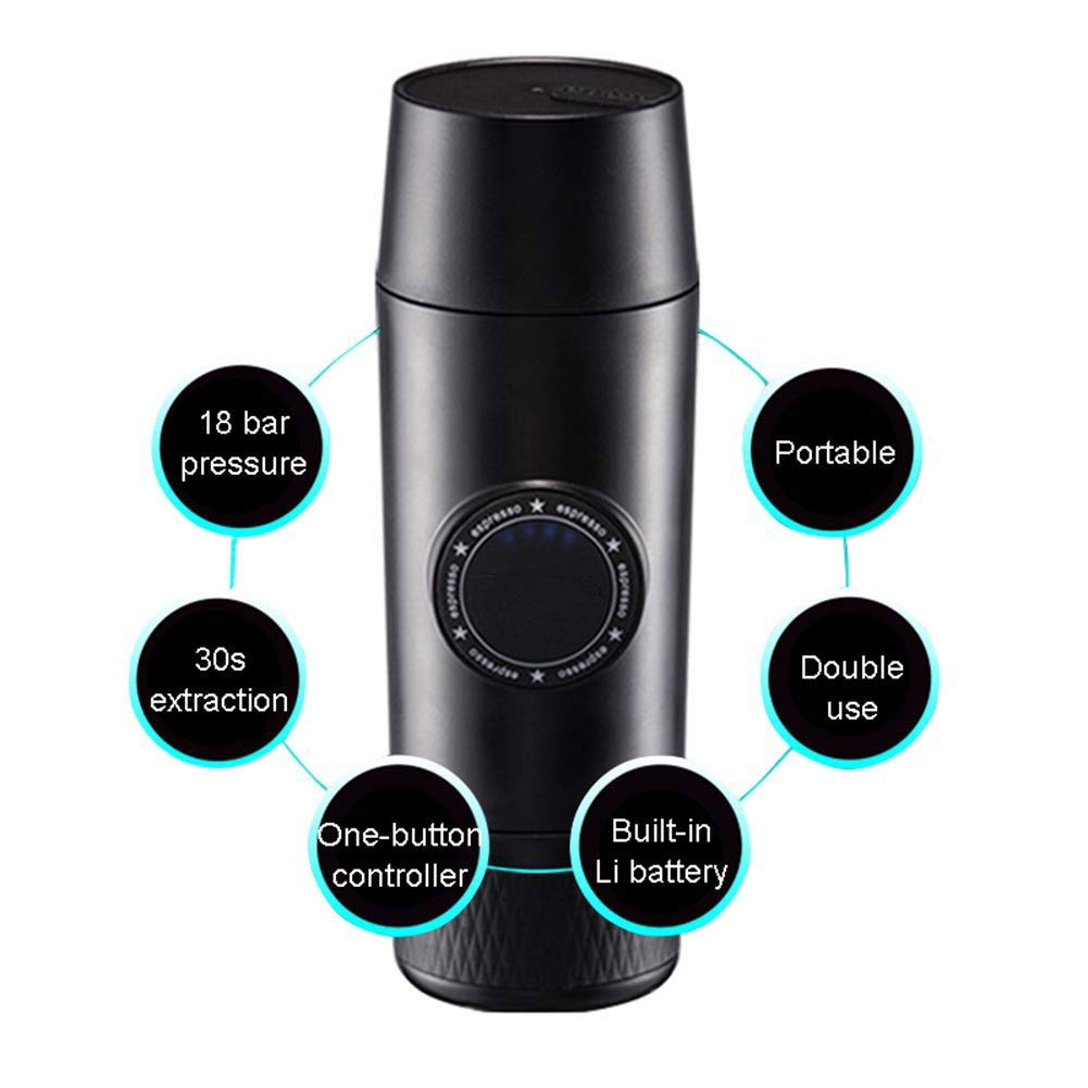 Portable Espresso Coffee Maker, Mini 2-in-1 Portable Electric Espresso Coffee Maker with 18 Bar Pressure,Wireless Chargeable Coffee Mechine with Hot Extraction Powder&Capsule Outdoor Travel by HWZGXWL