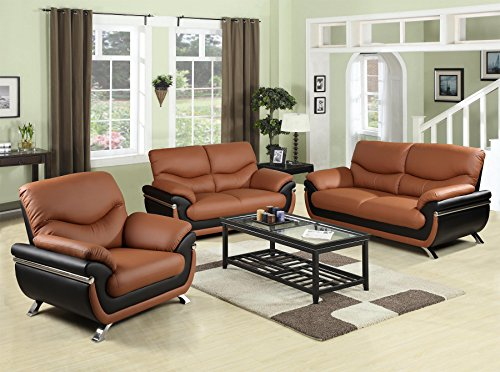 Beverly Furniture 3Piece Brown-Black Contempraray Faux Leather ...