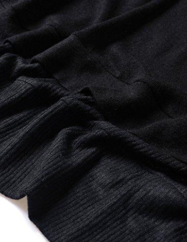 Nearkin Herren Strickjacke, Durchgehend schwarz NKNKCD1631-BLACK Small