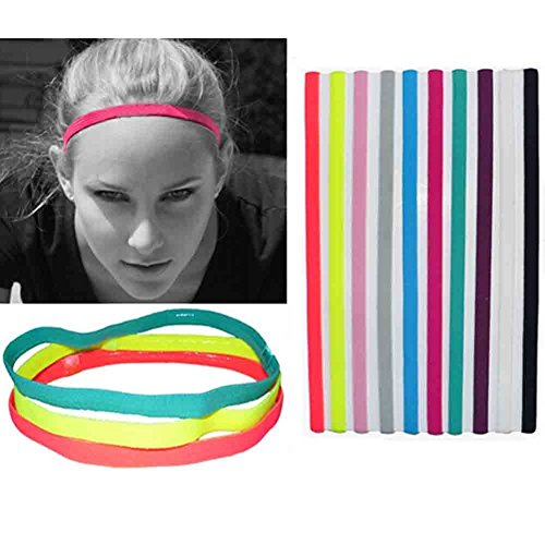 UPmall Sports Headband No Slip Grip Hairband Elastic Pullover Single Band Silicone Lined Sweatband, Perfect for Running, Fitness, Yoga, Hockey, Soccer, Basketball, Gym, Volleyball (Pack of 9 Colors)